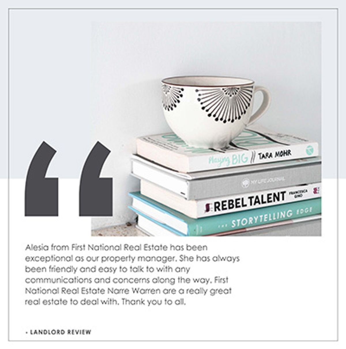 Coffee cup on stack of books with testimonial for Alesia Kasy