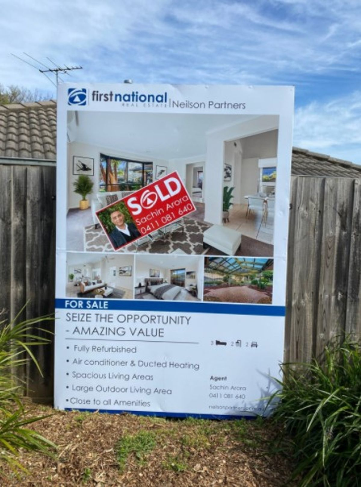 Sold sticker on 6 Marcus Court for sale board