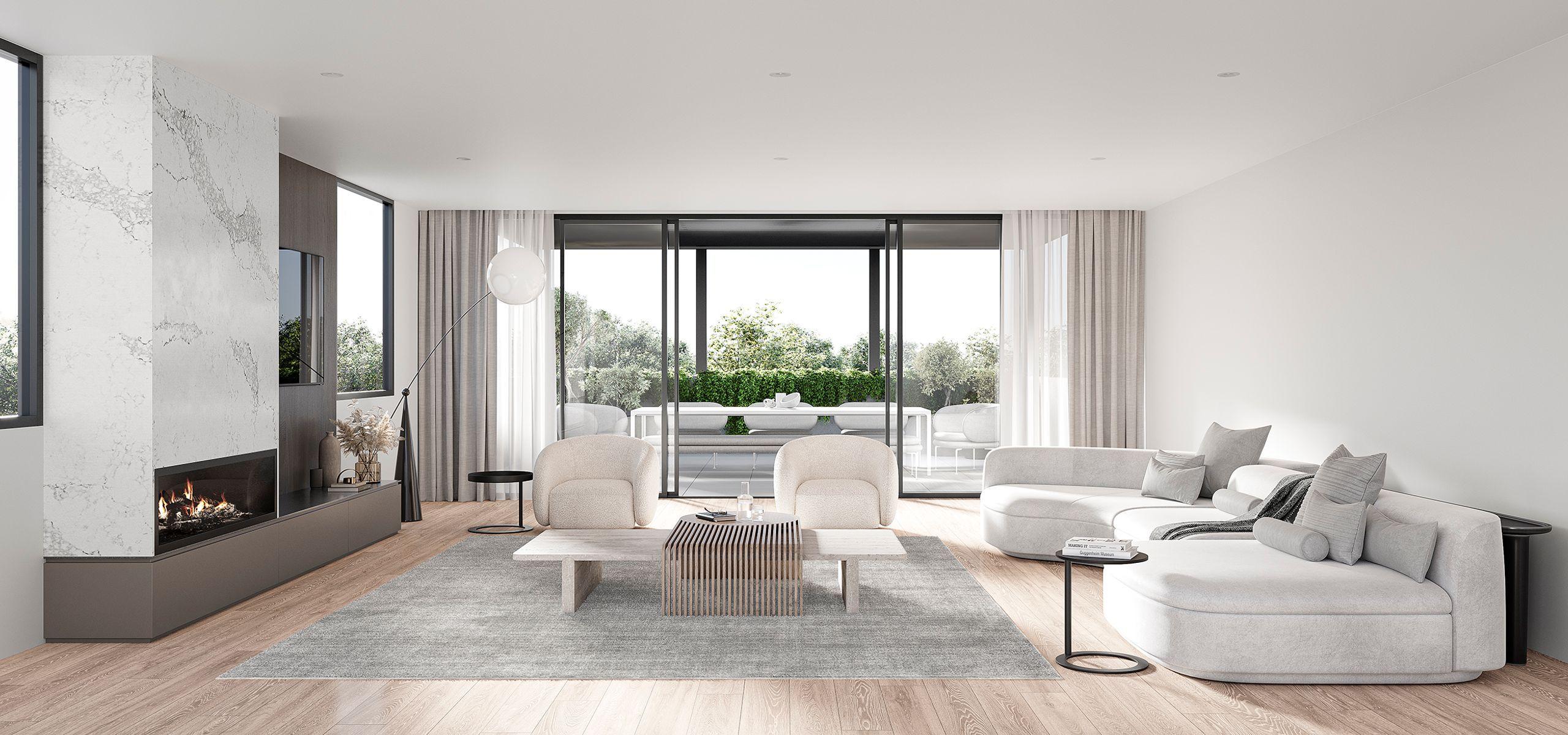 Beautiful modern living room at Langmore Lane, Berwick