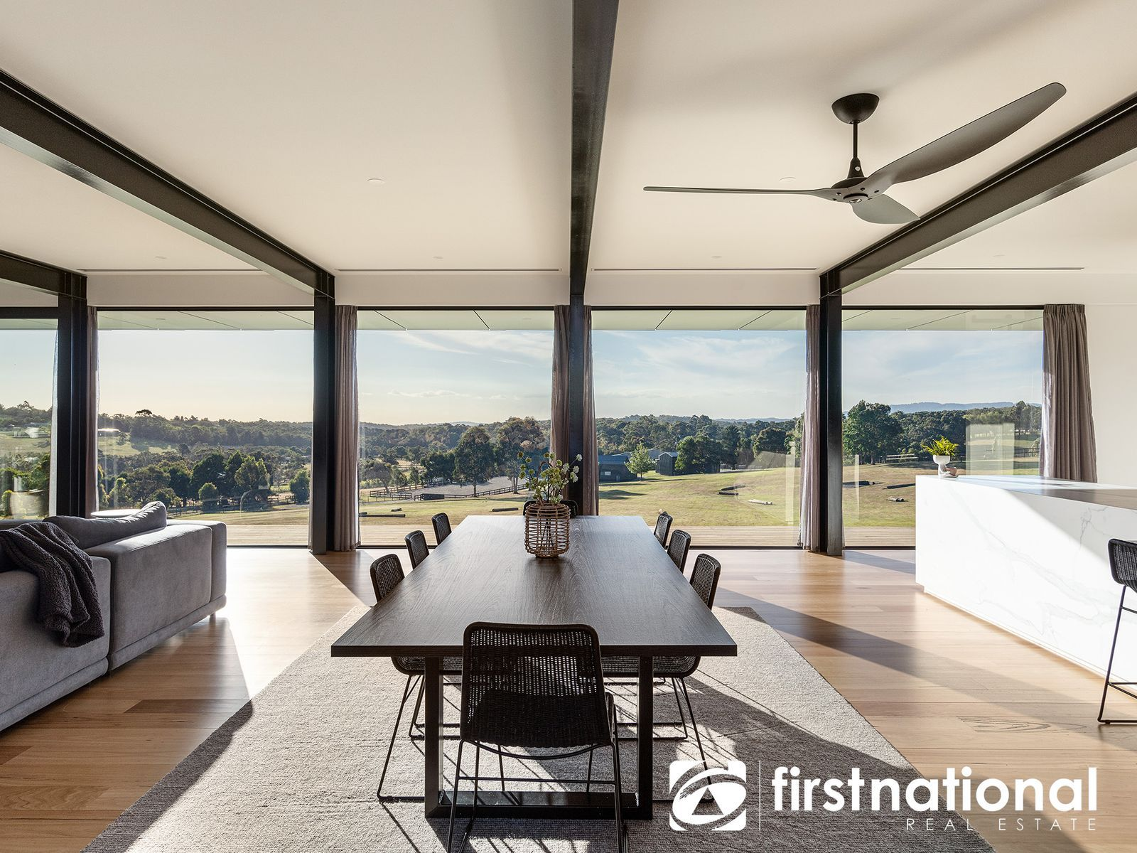 Living area overlooking breathtaking equestrian property