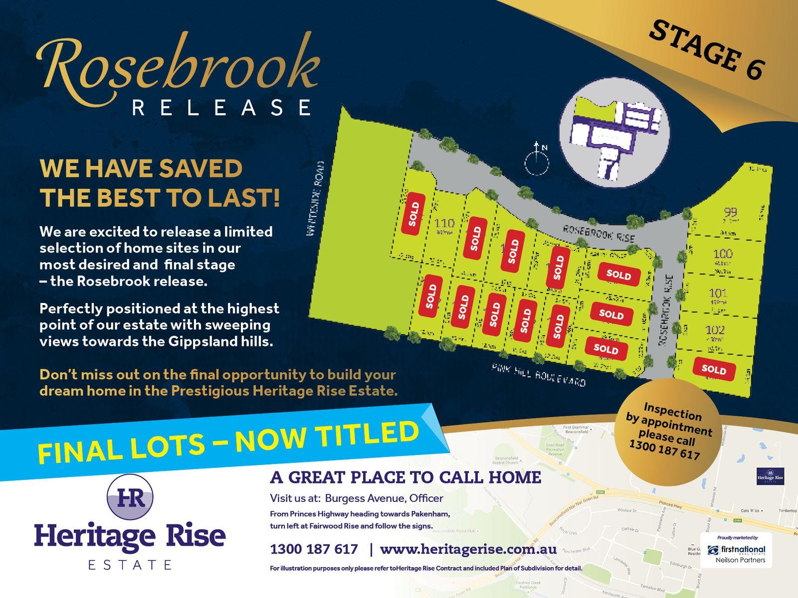 Stage 6 Heritage Rise - Rosebrook Rise, Officer, VIC 3809