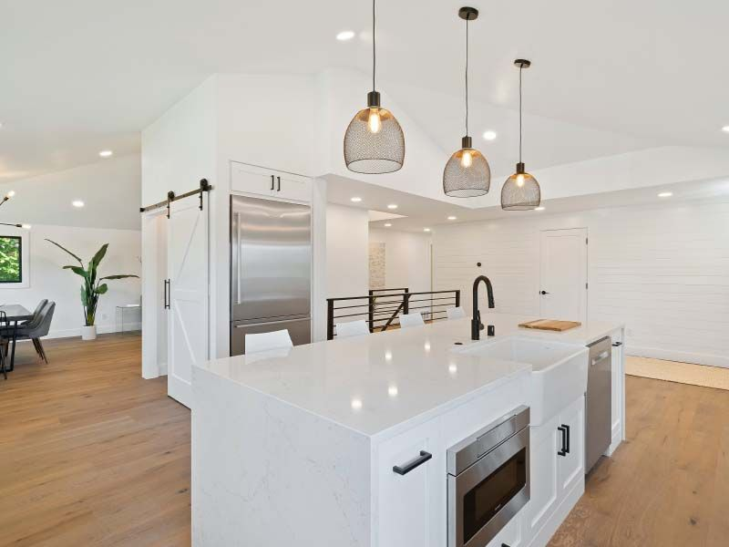 Stunning kitchen with barn door