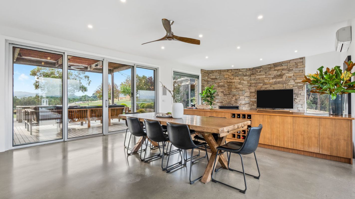 Photo of beautiful dining area overlooking rolling hills