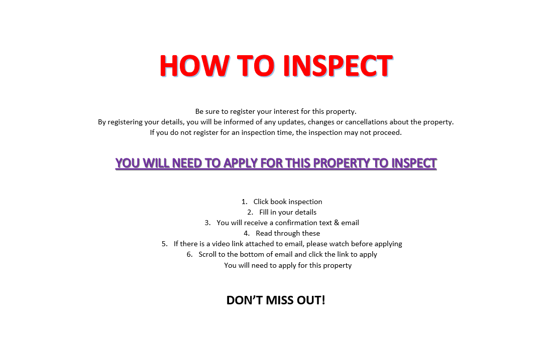 HOW TO INSPECT